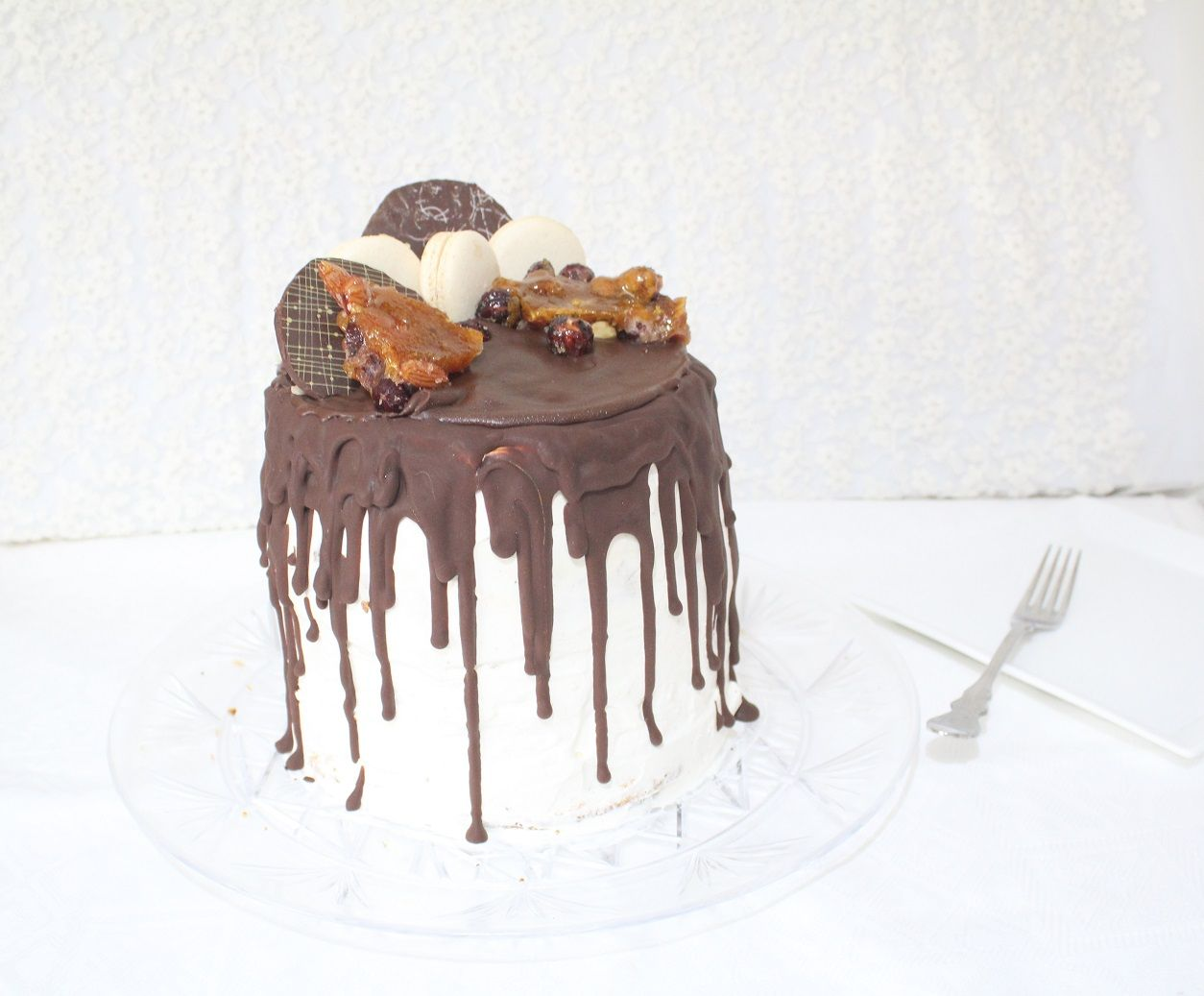 IMG 0895 - עוגת שכבות מיץ קציפת שקדים פרלינה ומוס שוקולד